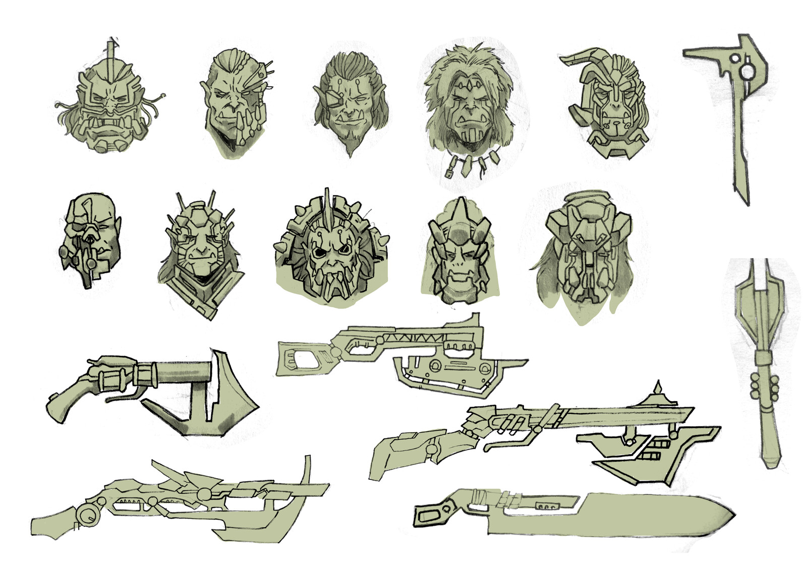 First faces and weapons.