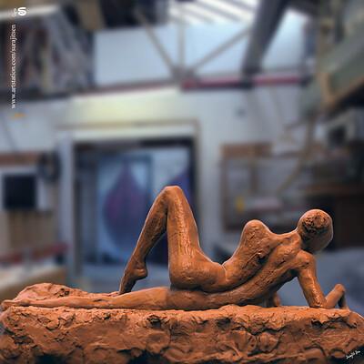 Surajit sen lady pose blockv1 digital sculpture surajitsen april2020ss