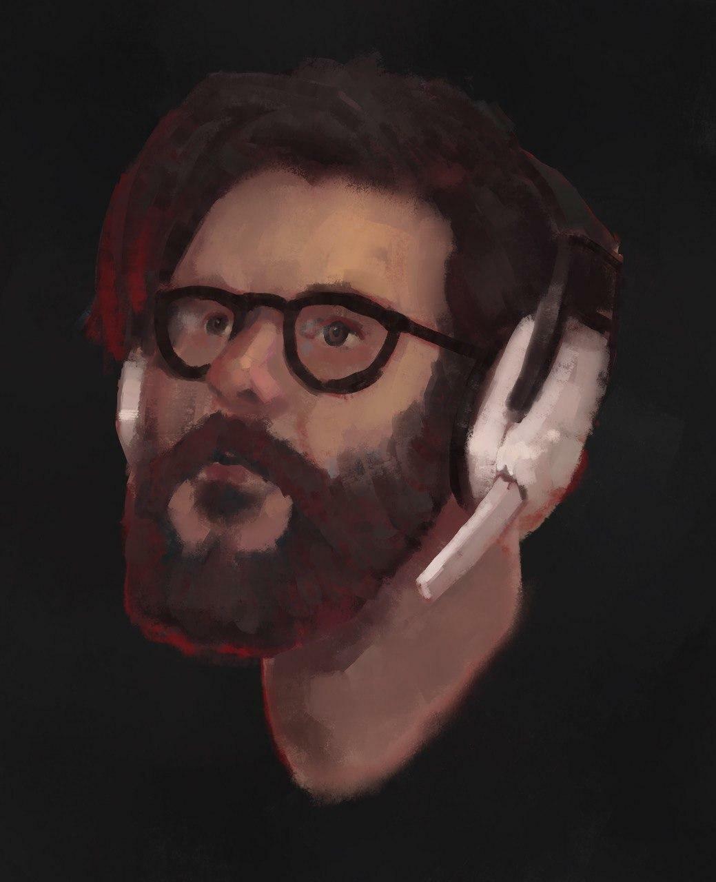 Skypecall portrait of my friend Ale
