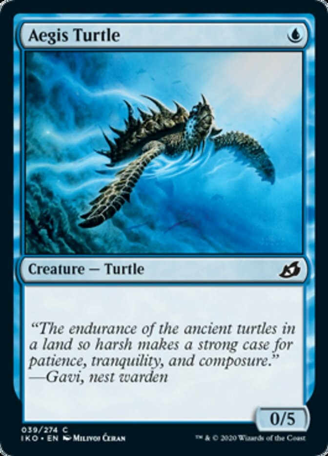 """-""""Aegis Turtle"""" released card - © Wizards of the Coast - AD Andrew Vallas - Magic the Gathering, """"Ikoria: Lair of Behemots"""" set"""