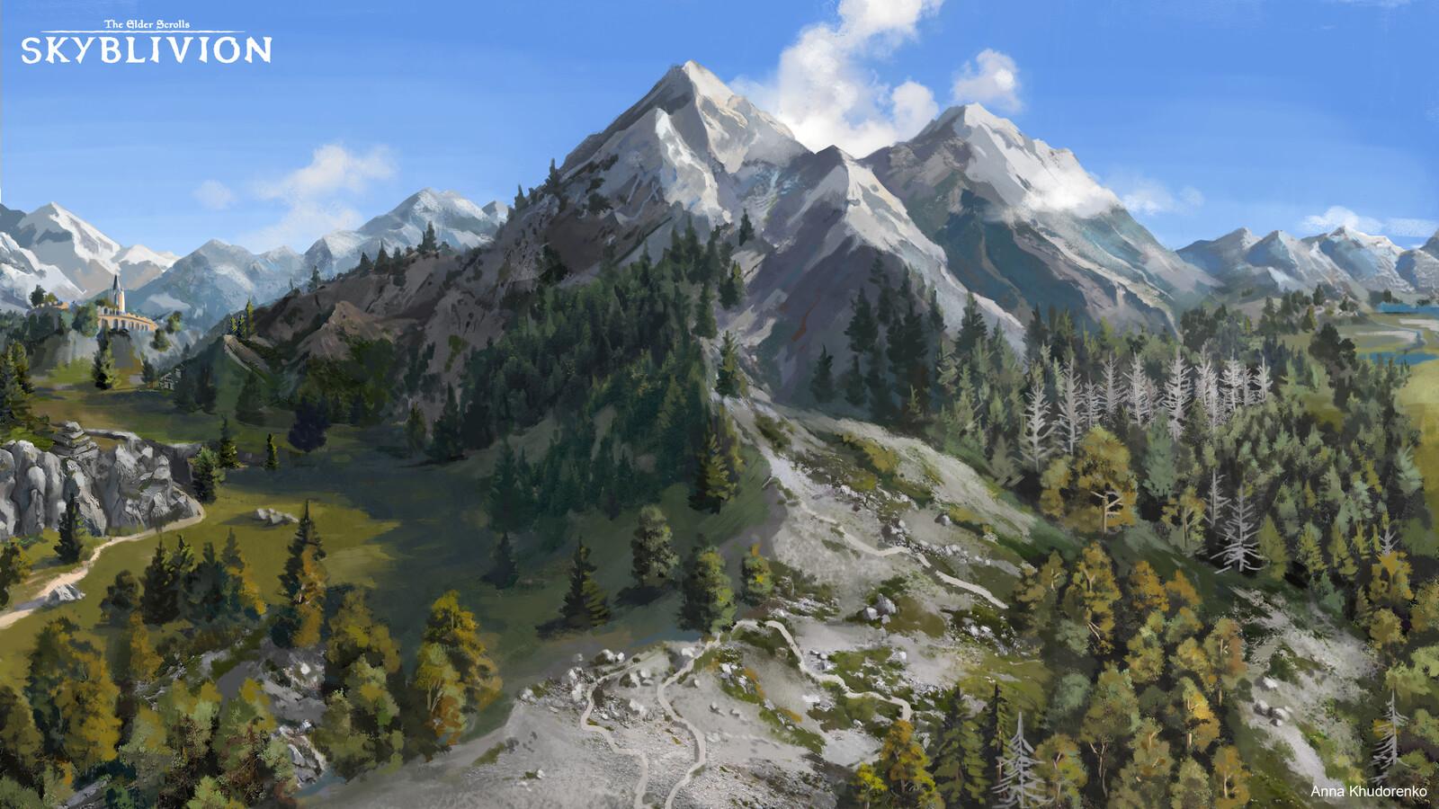 Skyblivion: Pine forest area