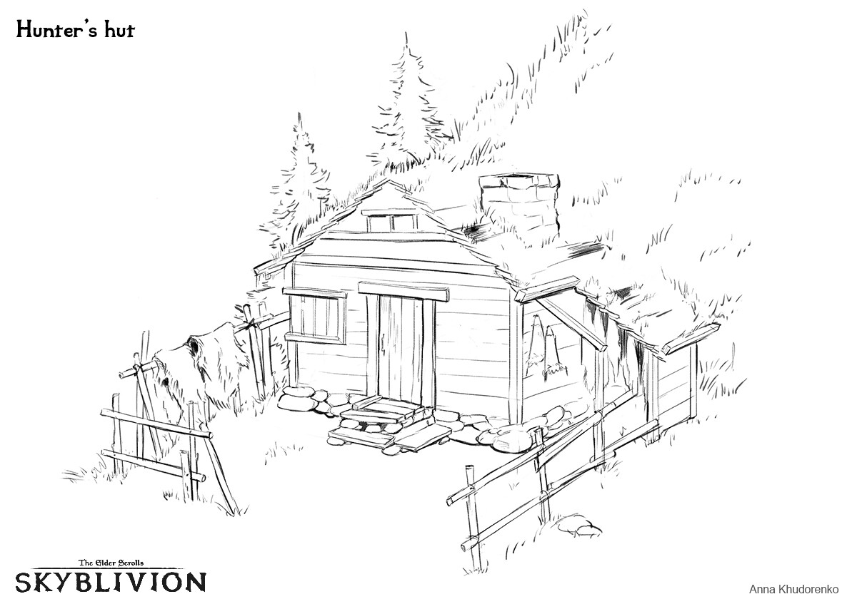 Hunter's hut from the pine forest area