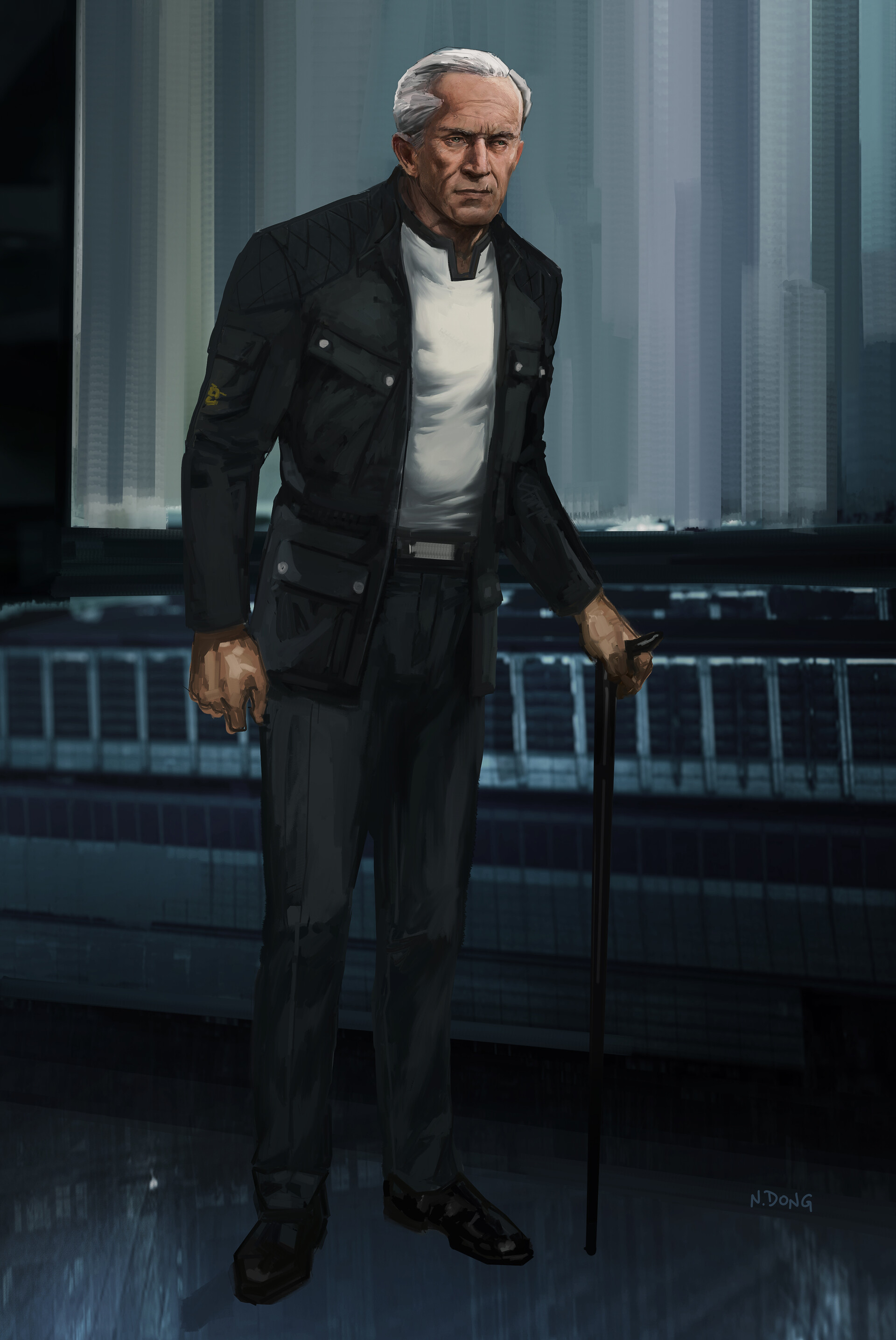 An older design variation of Bruce Wayne than the previous dressed in casual clothes.