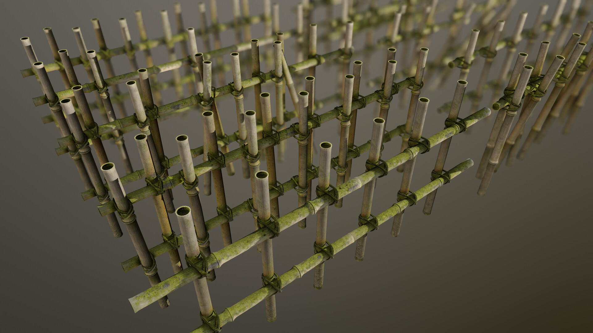 A render of the rain-slick, moldy fence in Marmoset Toolbag 3.