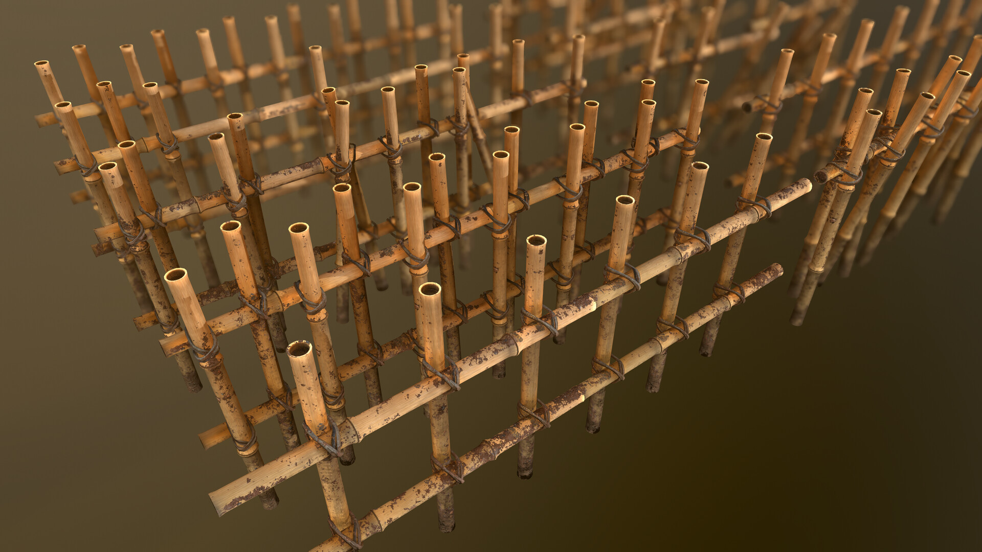 A render of the mud-covered fence in Marmoset Toolbag 3.