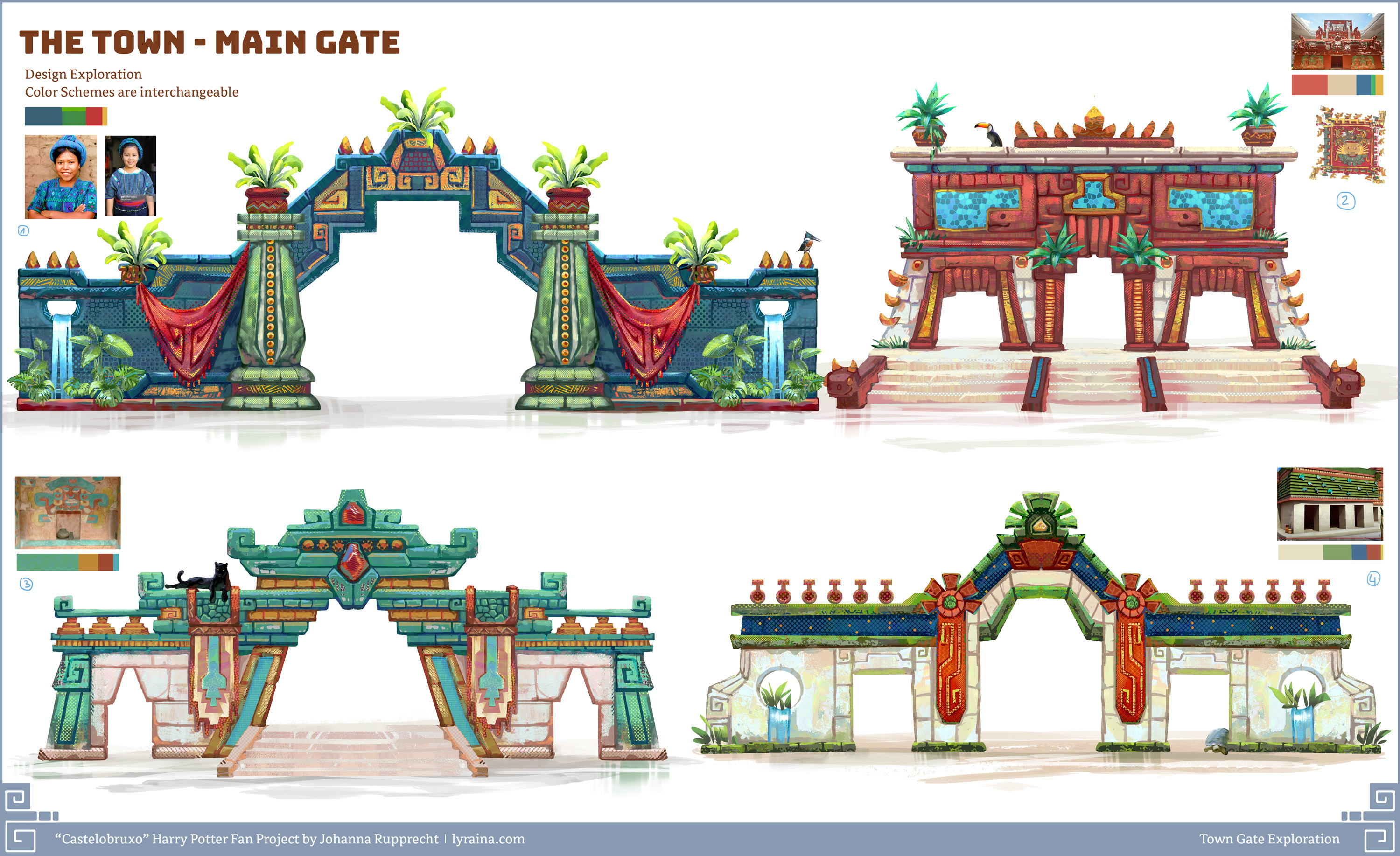 Town Gate, Design & Color Scheme exploration