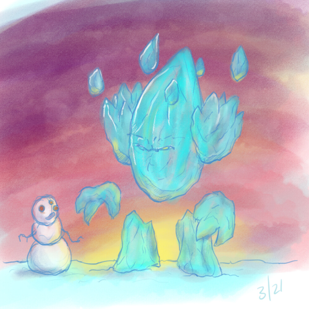 Day 3. Ask for suggestions and a friend said, 'ice monster' so came up with this. Was also nice to try a different style.