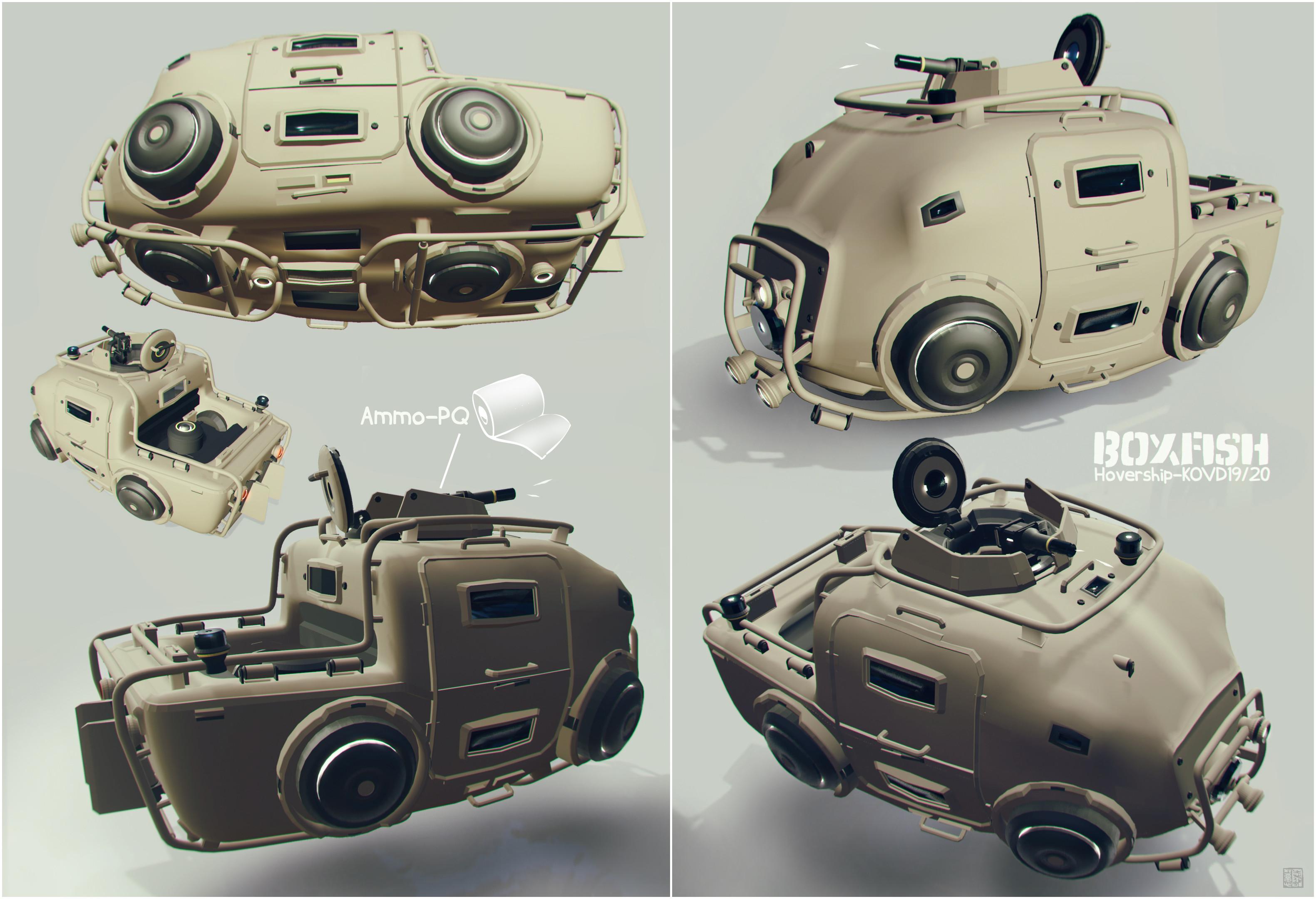 Boxfish style armored hovership :)