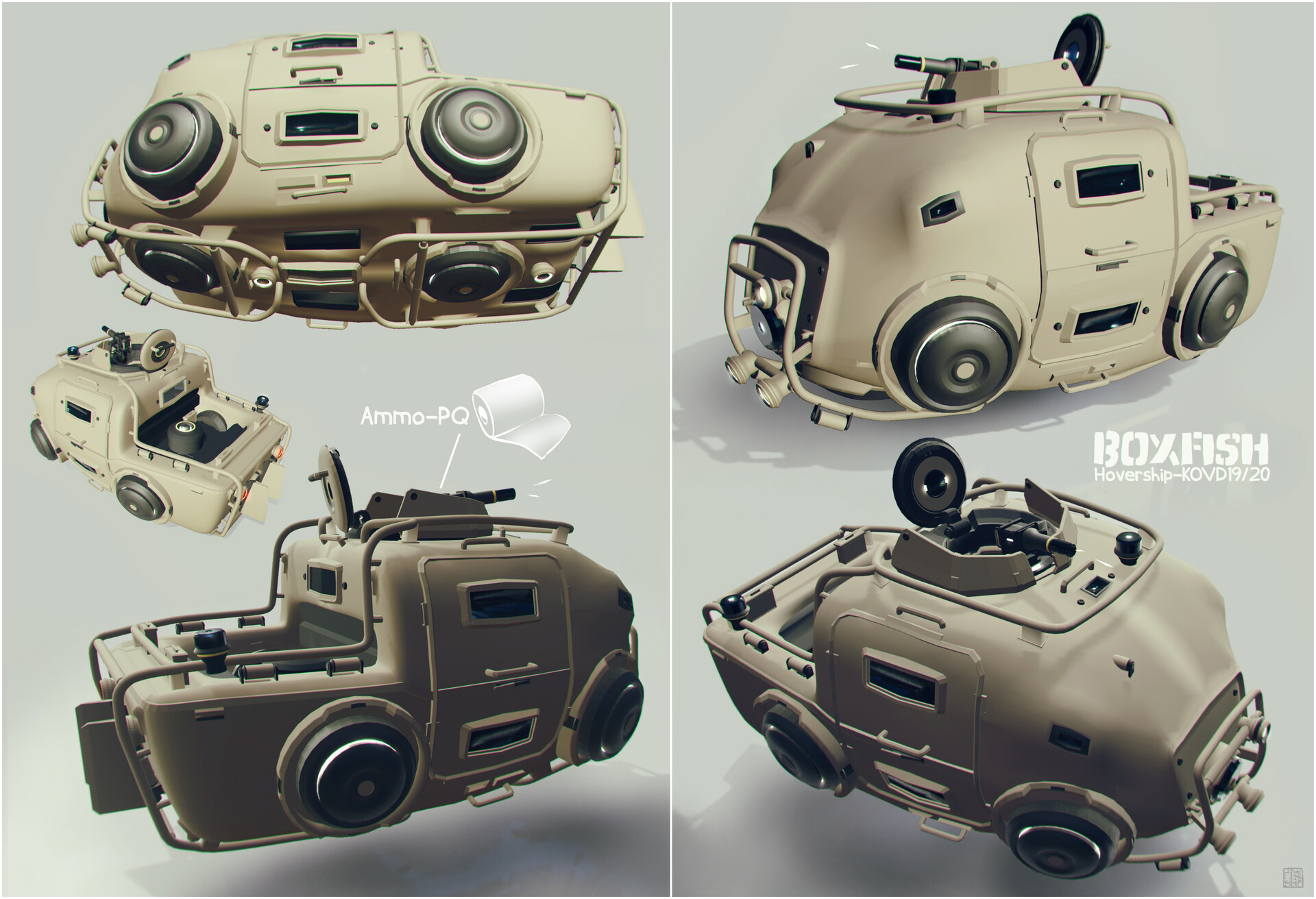 Boxfish style armored hovership :)