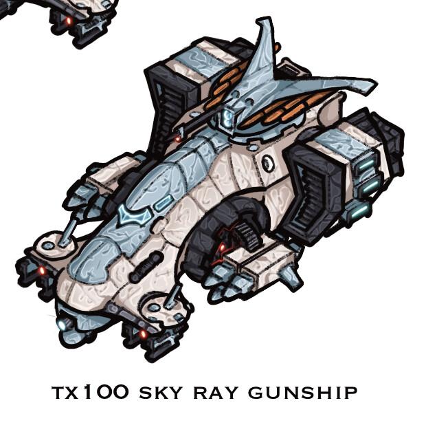 Tx100 Sky Ray Gunship  New design - more missiles