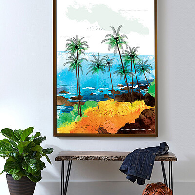 Rajesh r sawant goa beach frame with wooden bench