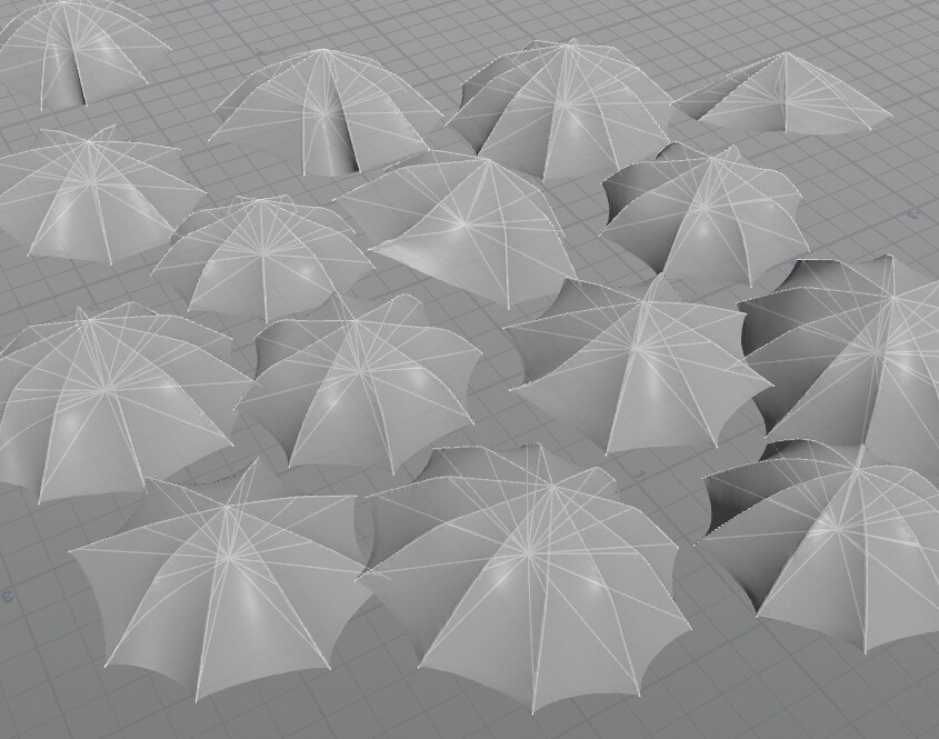 Umbrella-Mesh with underlaying wires which are used for the simulations