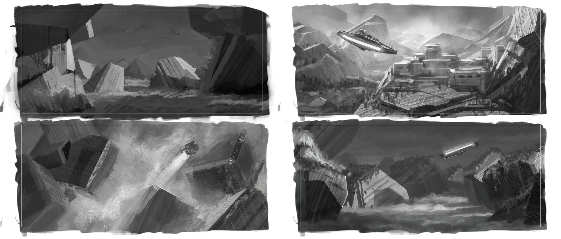 A page of the kind of greyscale sketches I'll typically do to establish composition.