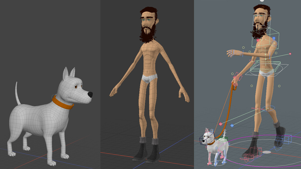 Character models wires and rigging.