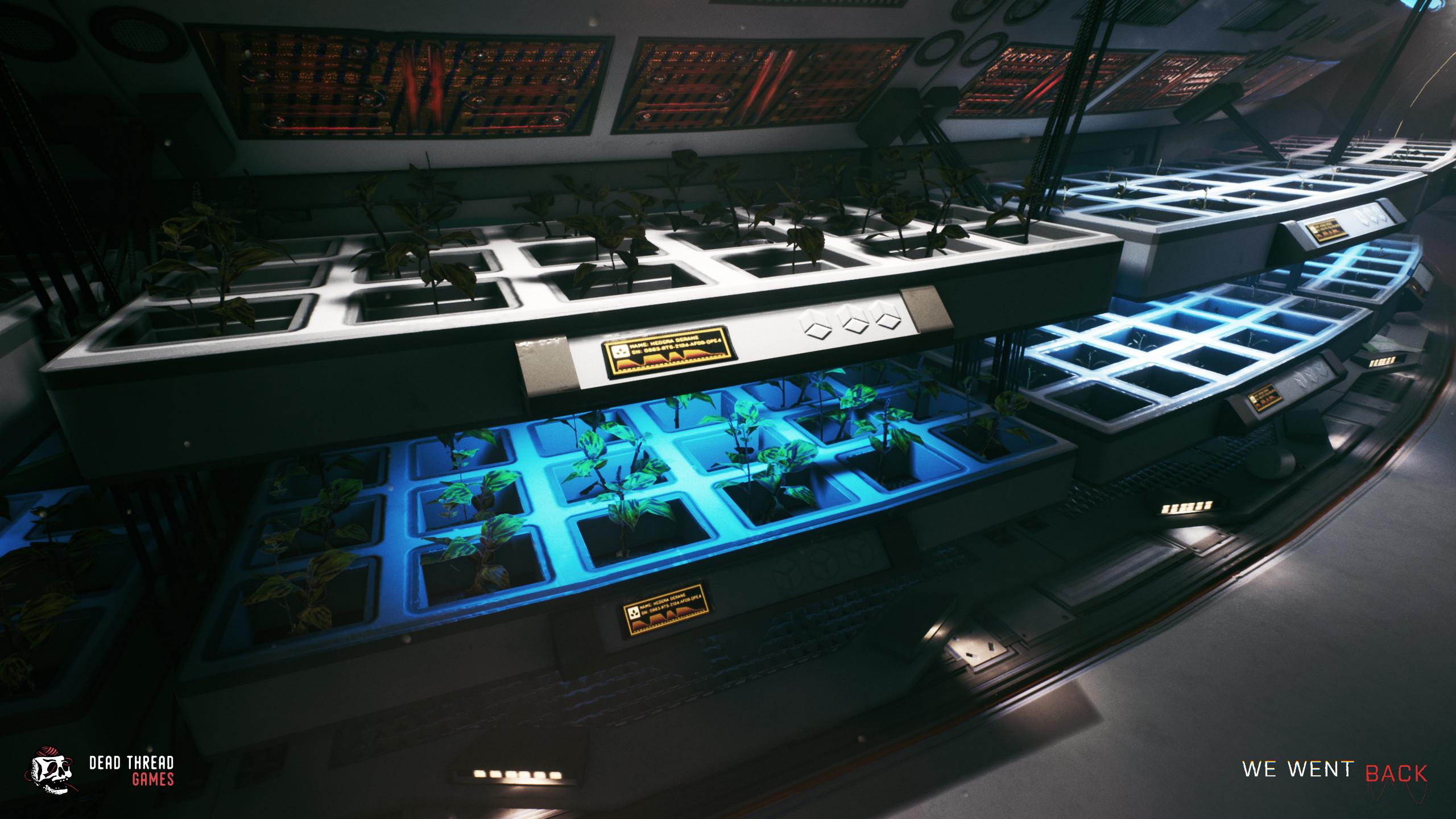 In game hydroponics room screens.