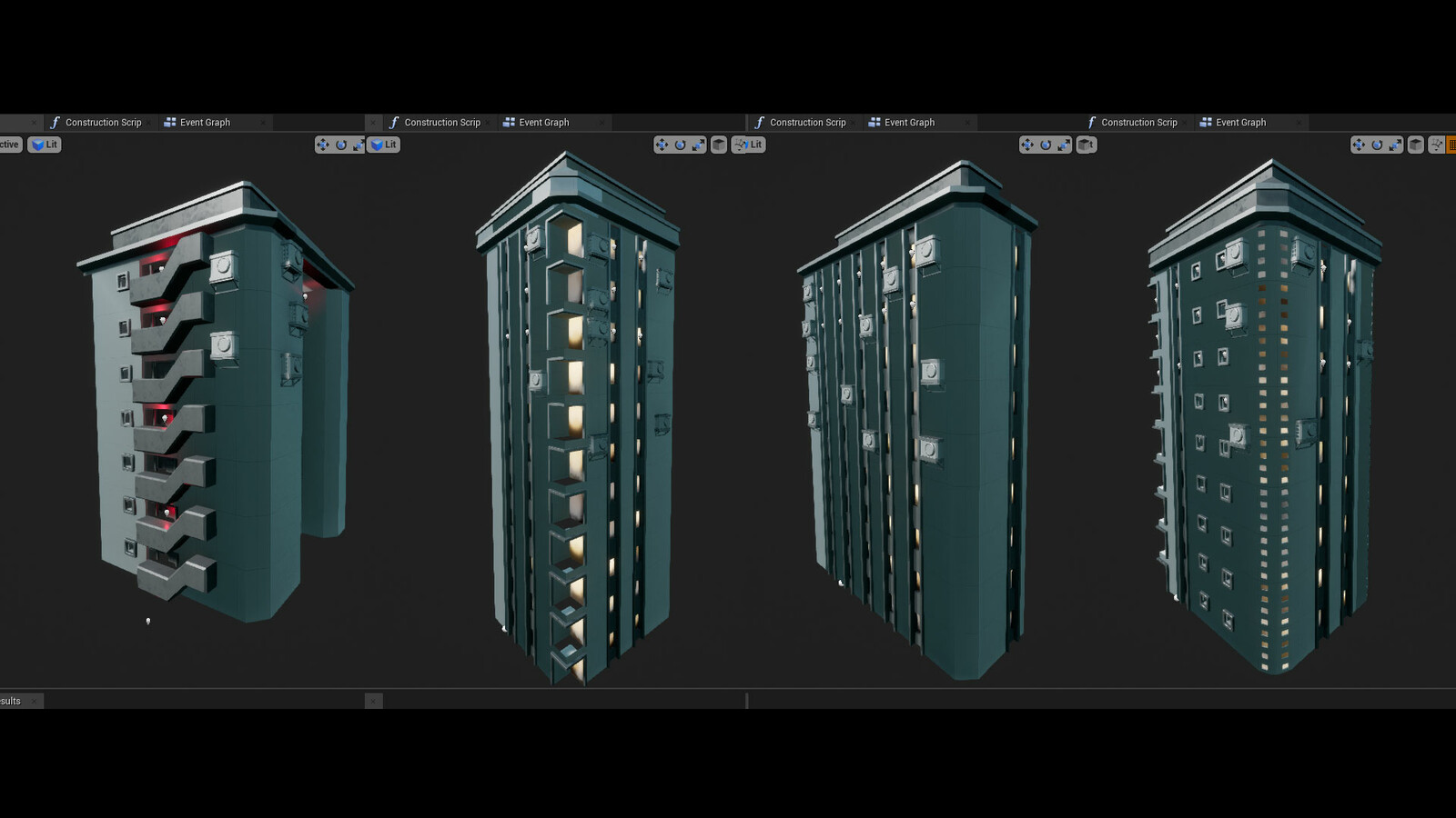 Buildings blueprints created with the modular assets