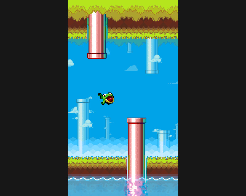 Mock-up of the Flappy Froggy game with updated graphics (2020)