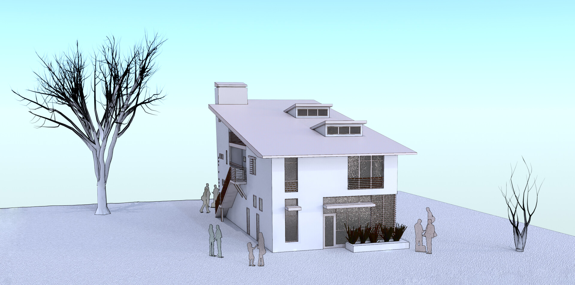 Unbuilt Gallery - White Massing - With Entourage