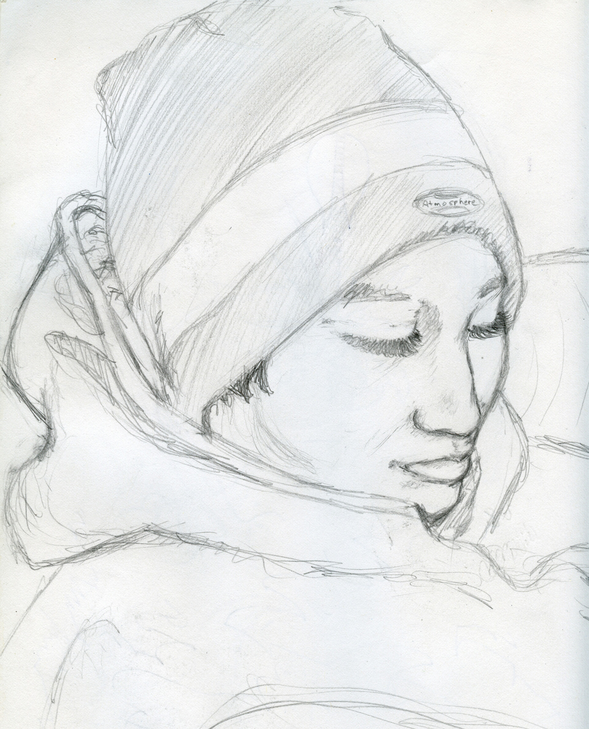 Snowboard Chick Portrait Sketch