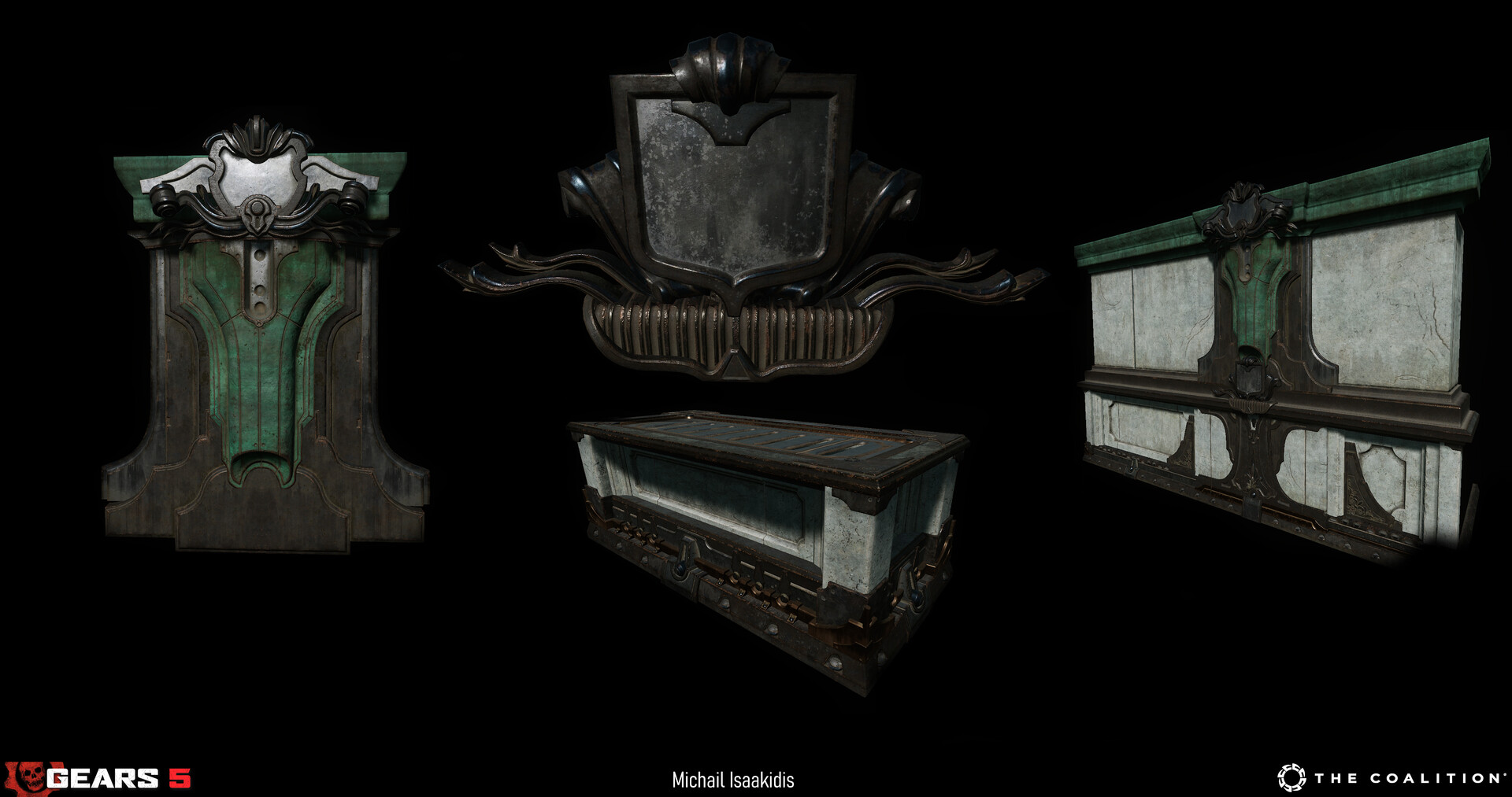 Theses assets utilise a combination of unique bake materials and trim sheets.  Overall a total of 4 materials were created to populate the majority of the walls and covers in the map.