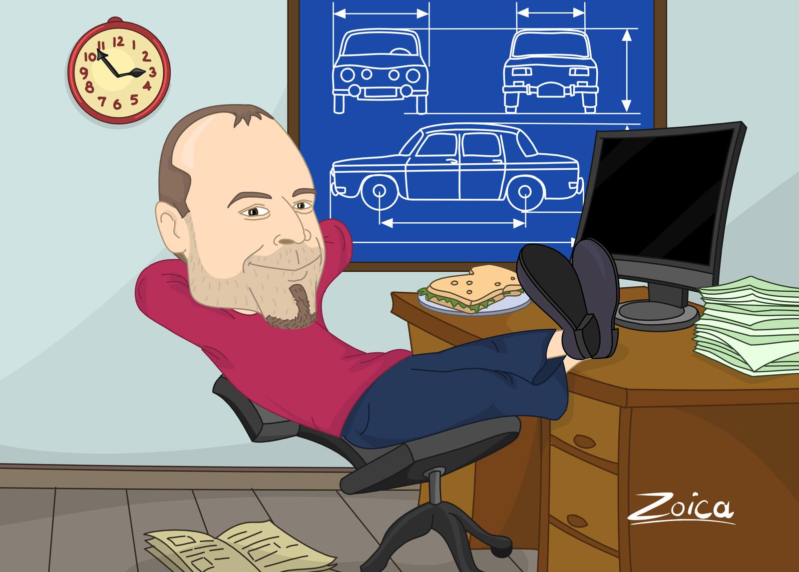 Lunch break, caricature illustration