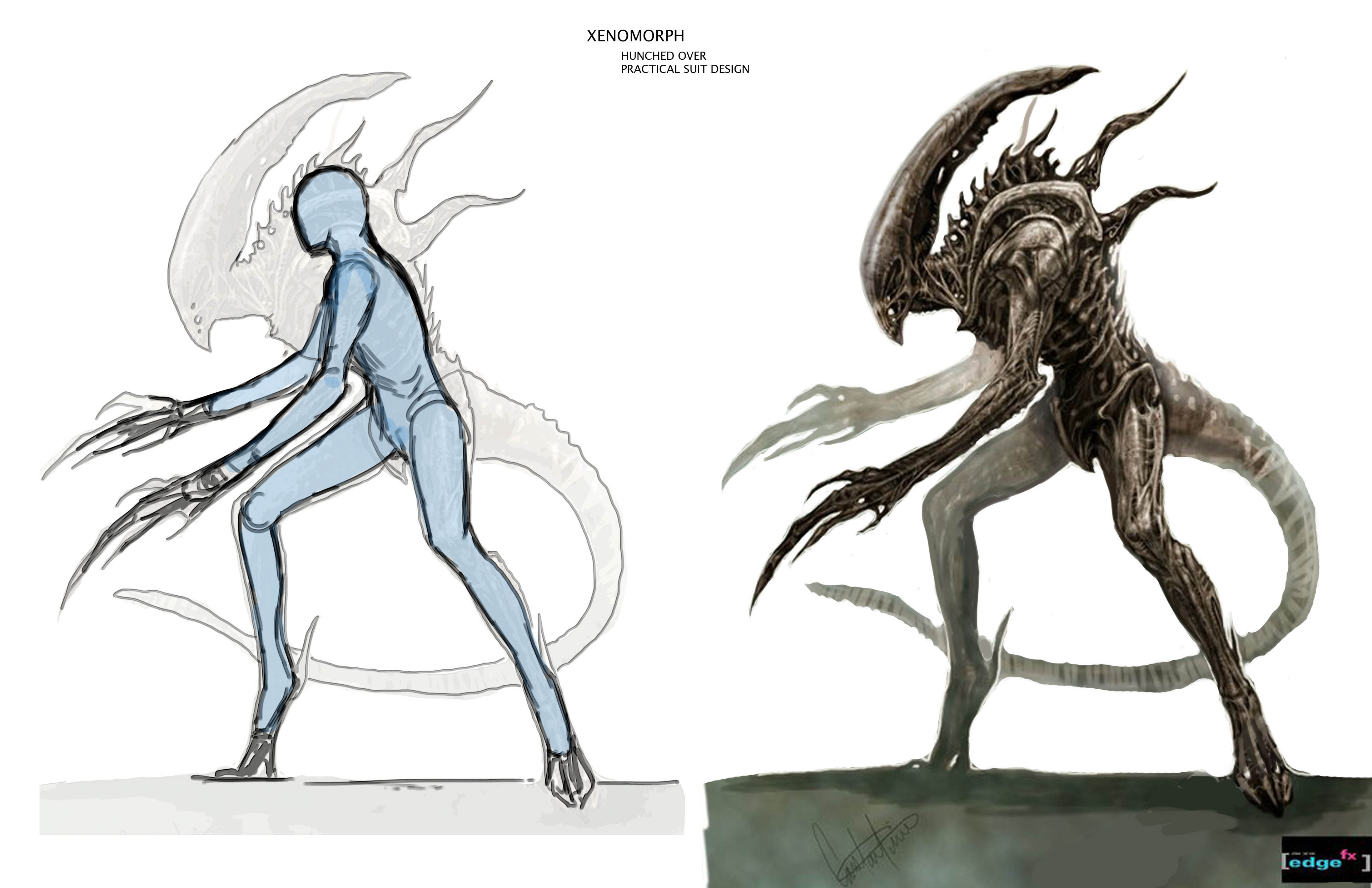"""Xenomorph practical suit design """"hunched over"""""""