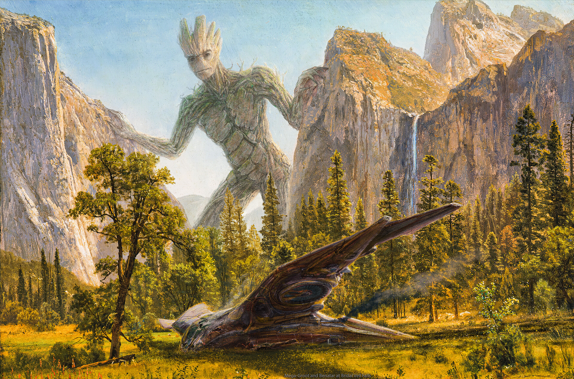 Mega Groot & Benatar at Bridal Veil Falls after Bierstadt
