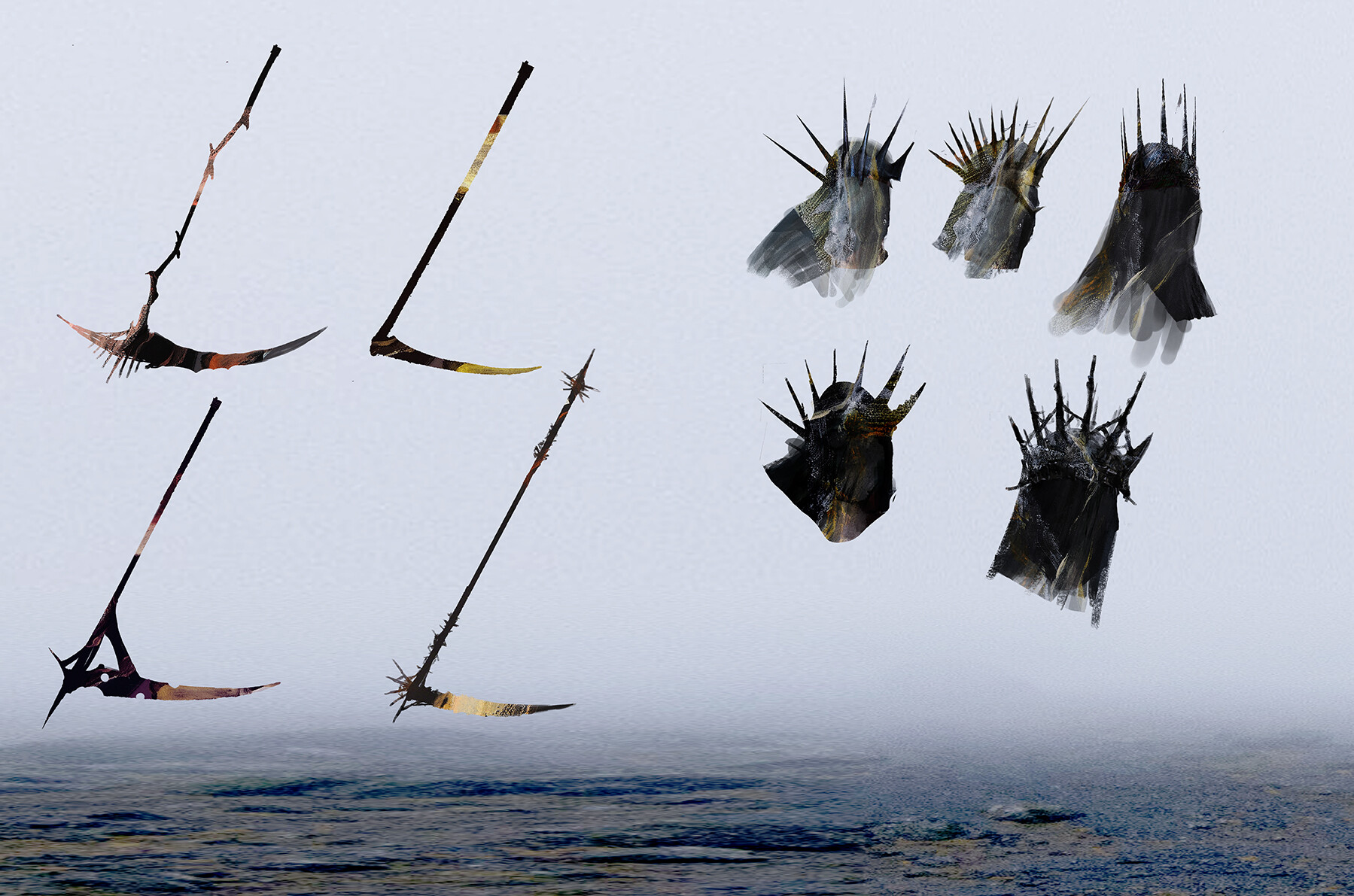 Different designs of the scythe and crown