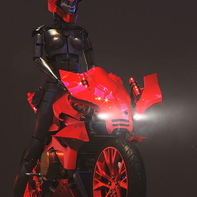 Ying te lien red bike