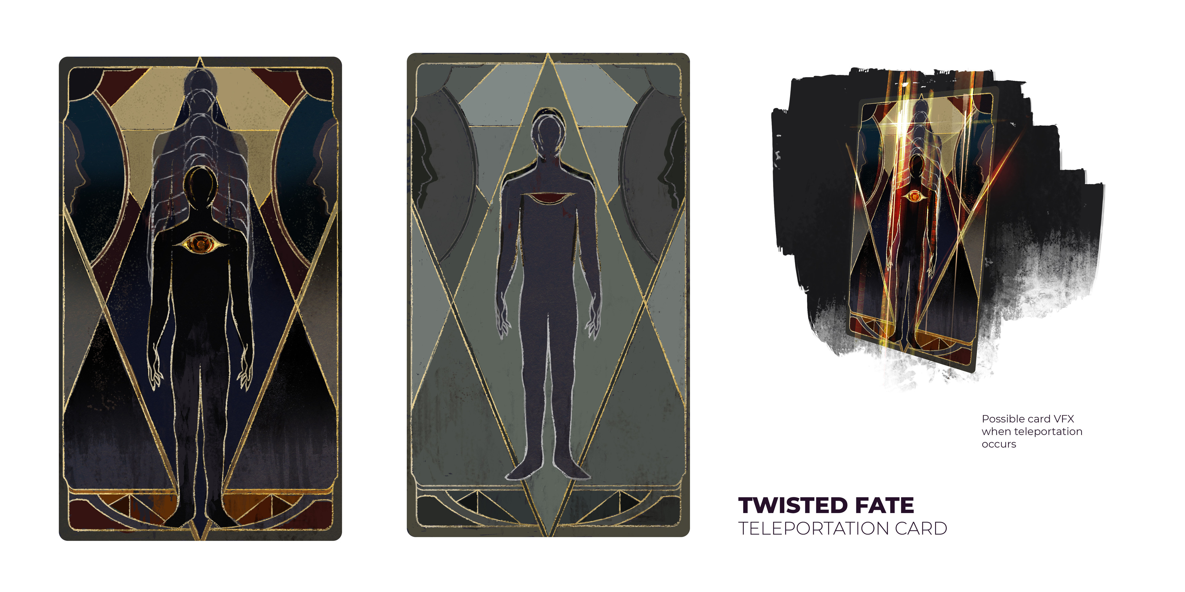 Twisted Fate's Teleporation Card with ON and OFF state. There's no parallel to this in-game, so the neutral color black was chosen.