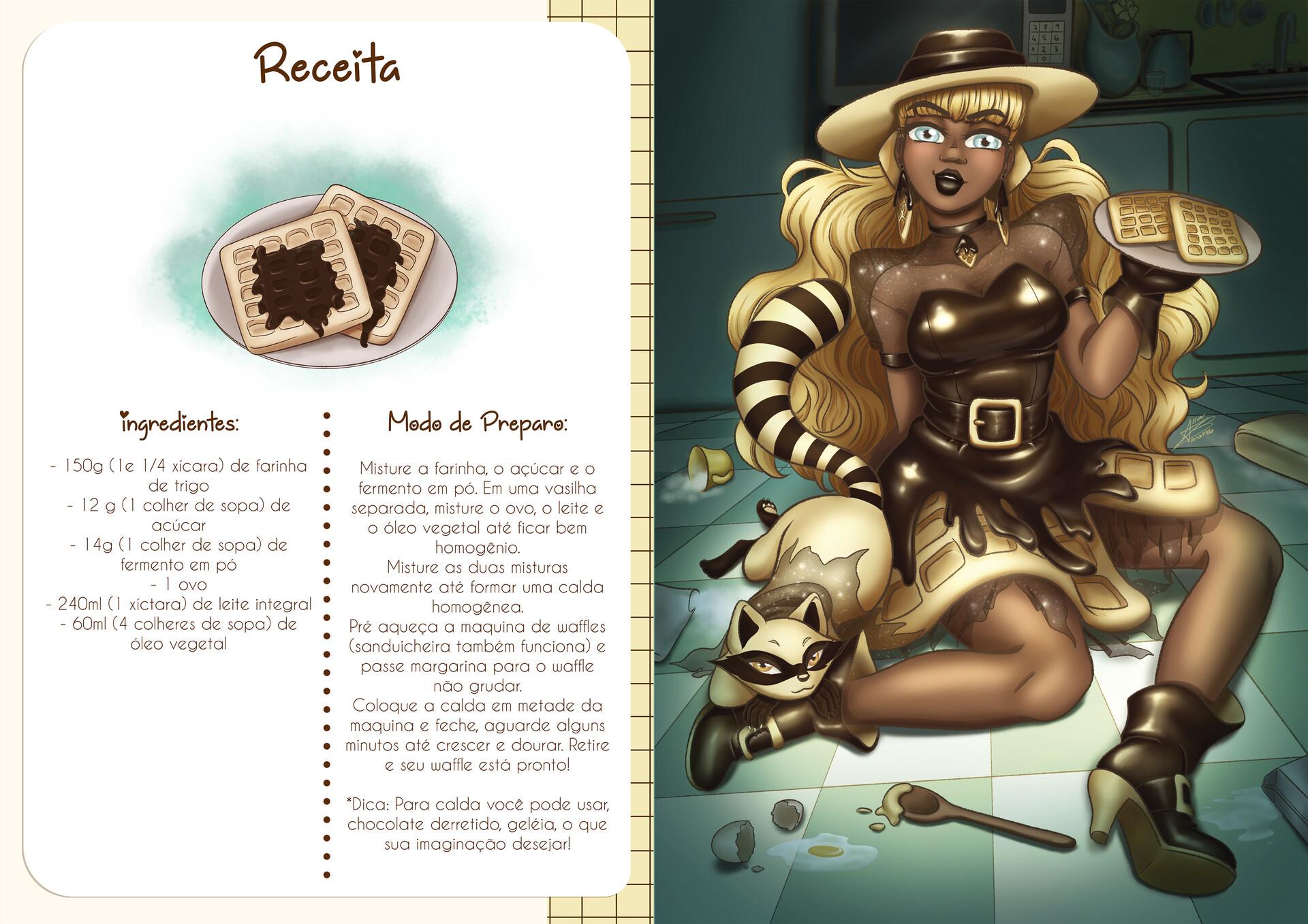 Receita e ilustração da bruxinha Wanda Waffle