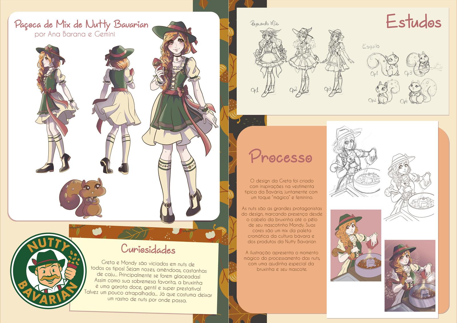 Páginas sobre a bruxinha Greta, para patrocínio da Nutty Bavarian, com cores por Helena Dutra (Gemini)