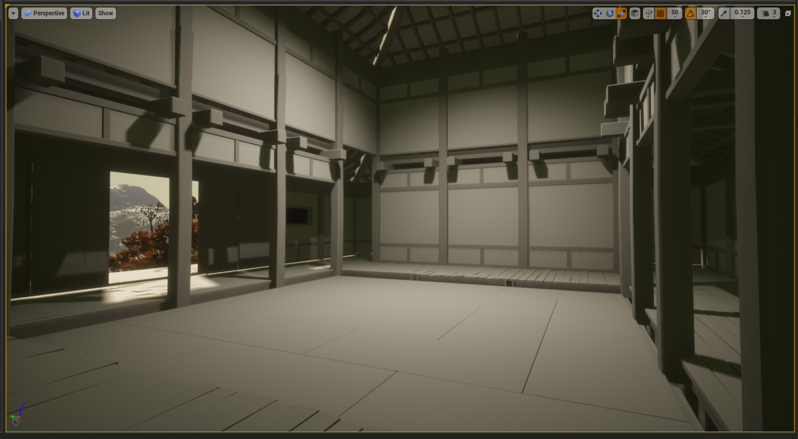 First images of the walls and roof assembled in UE4.