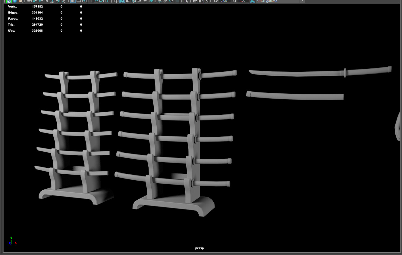 Building the weapon racks. Fun fact: The blade side should be facing up when on display, as to not dull the edge.