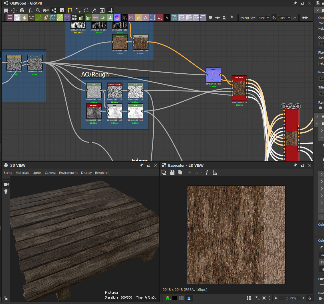 Substance Designer graph for the wood trimsheet for the floor.