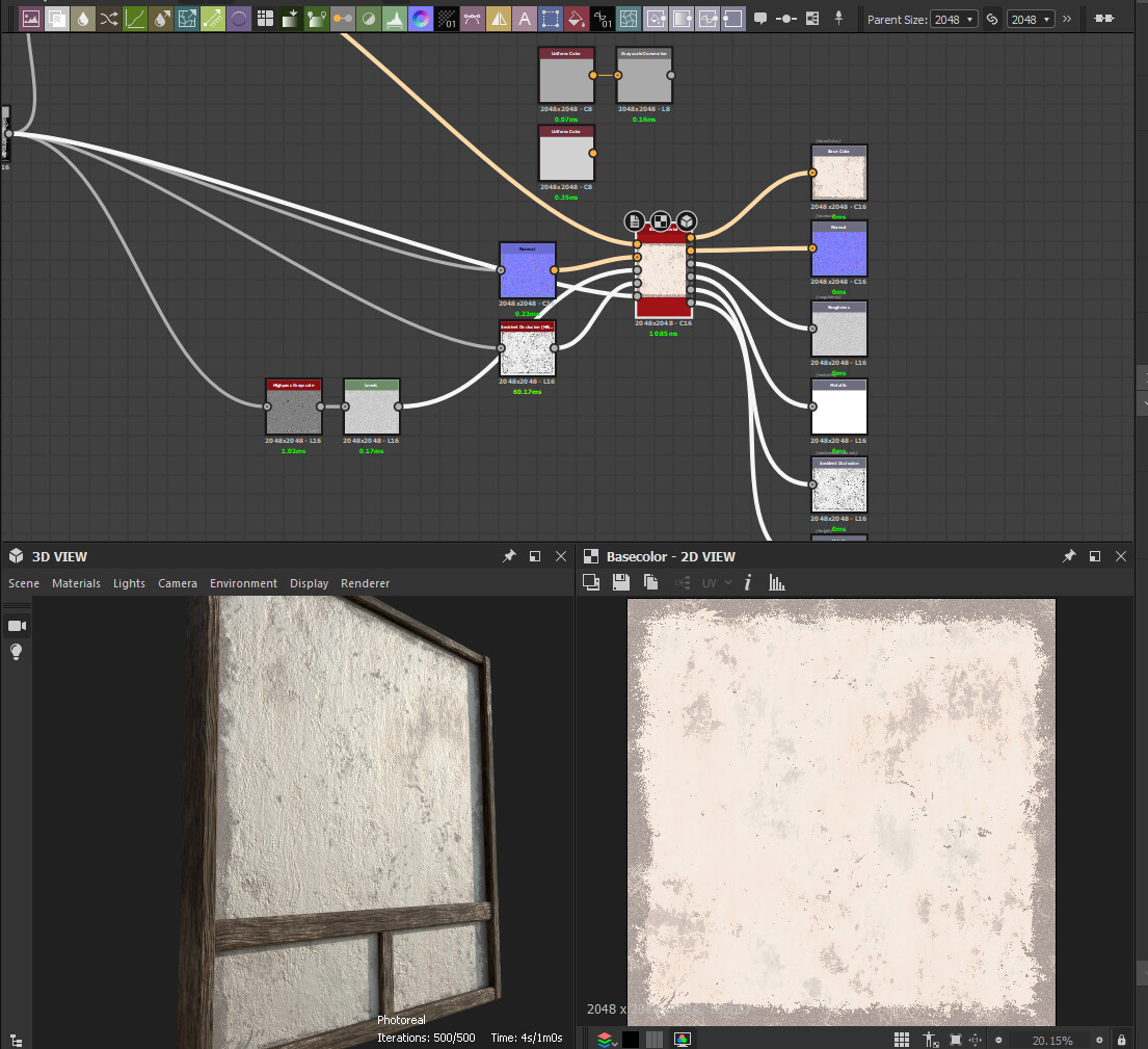 Substance Designer graph for the wood and wall materials. Fun fact: Tsuchikabe is the name for this wattle and daub plaster material, made from mud, clay, and straw, layered over a frame of horizontal and vertical bamboo strips.