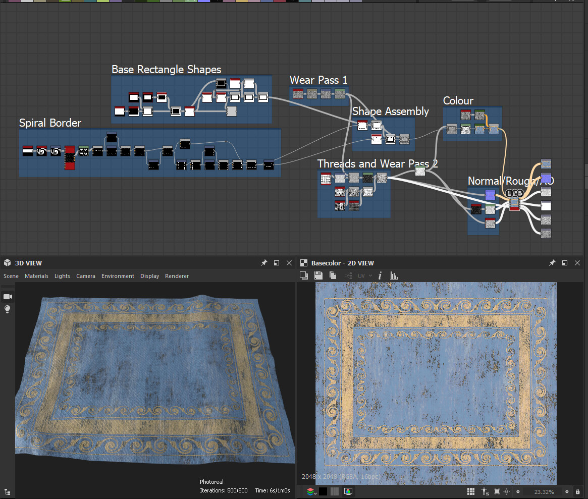 Substance designer graph of the rug. Had a lot of fun making this.