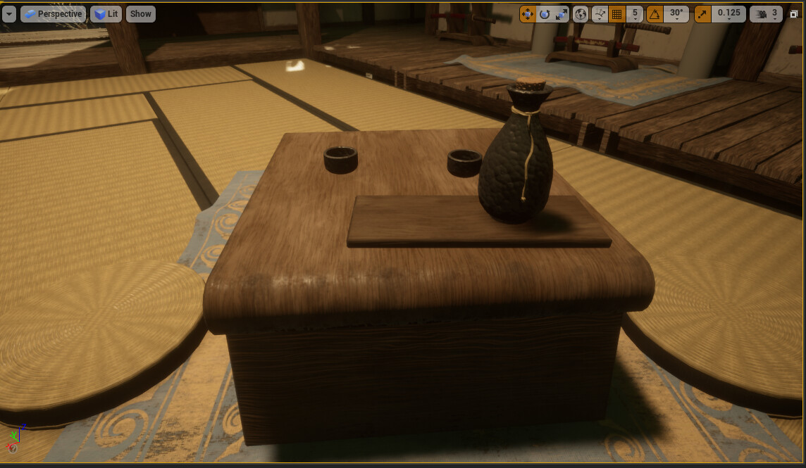 UE4 place setting materials applied.
