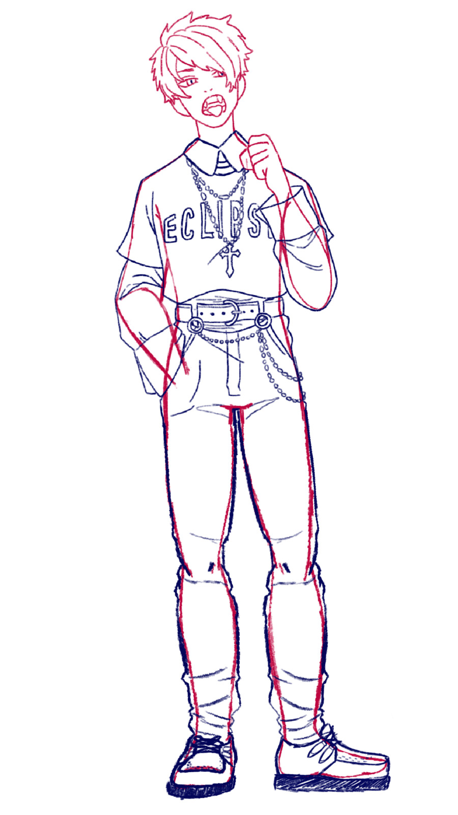 Full body concept sketch with original artists input