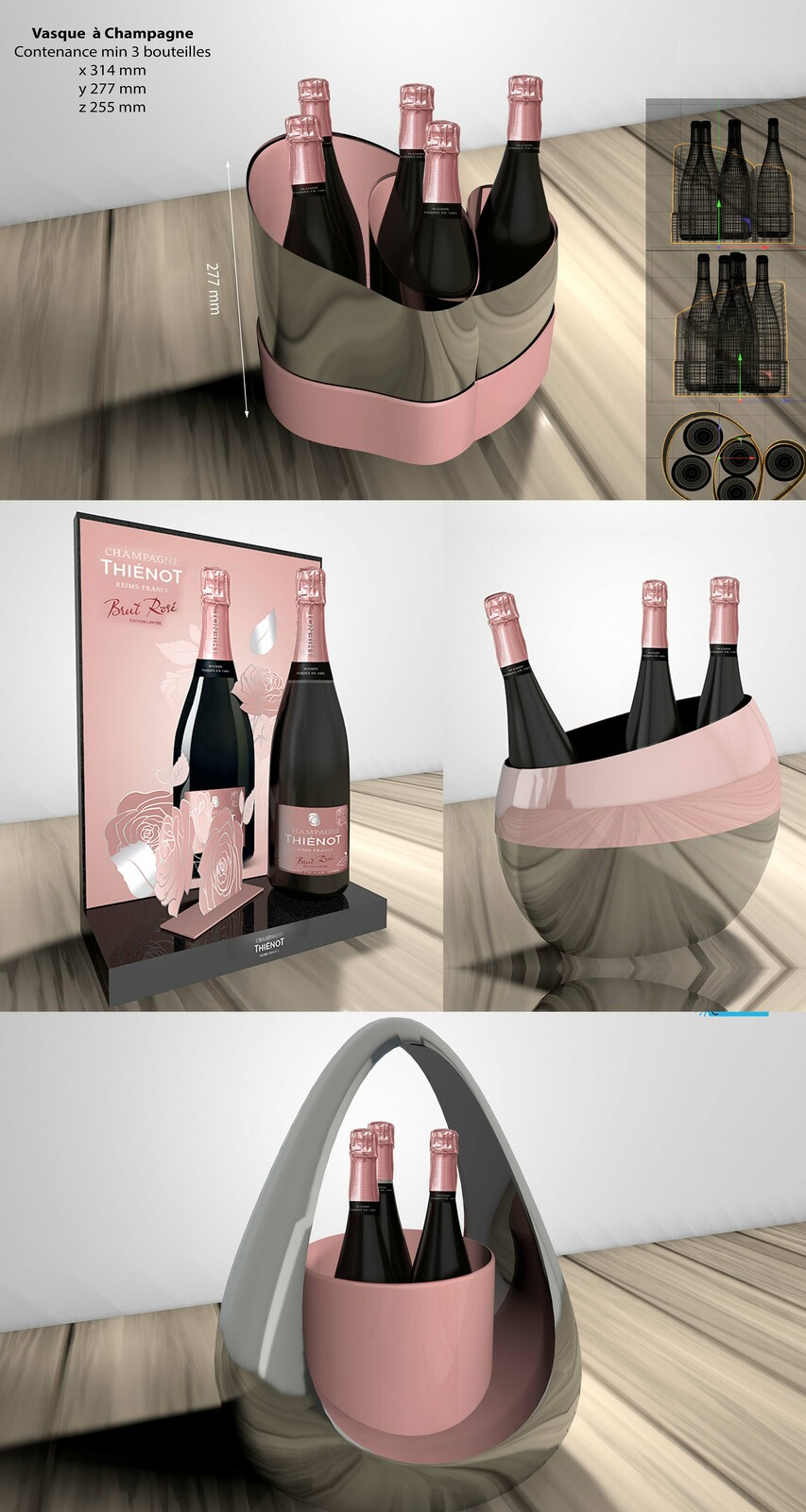 Prototype 3D design seau champagne & display