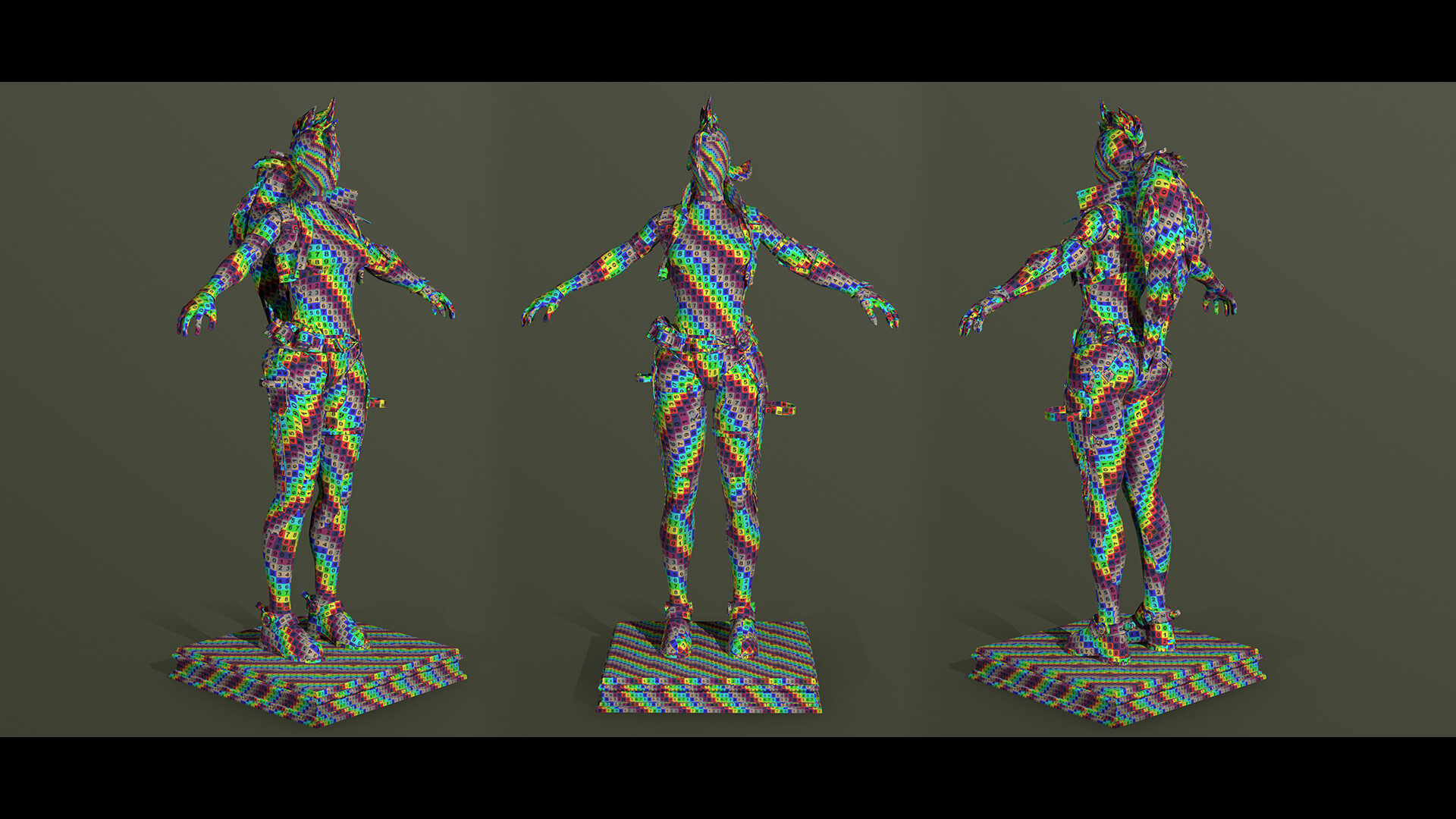 Model with a UV checker material applied
