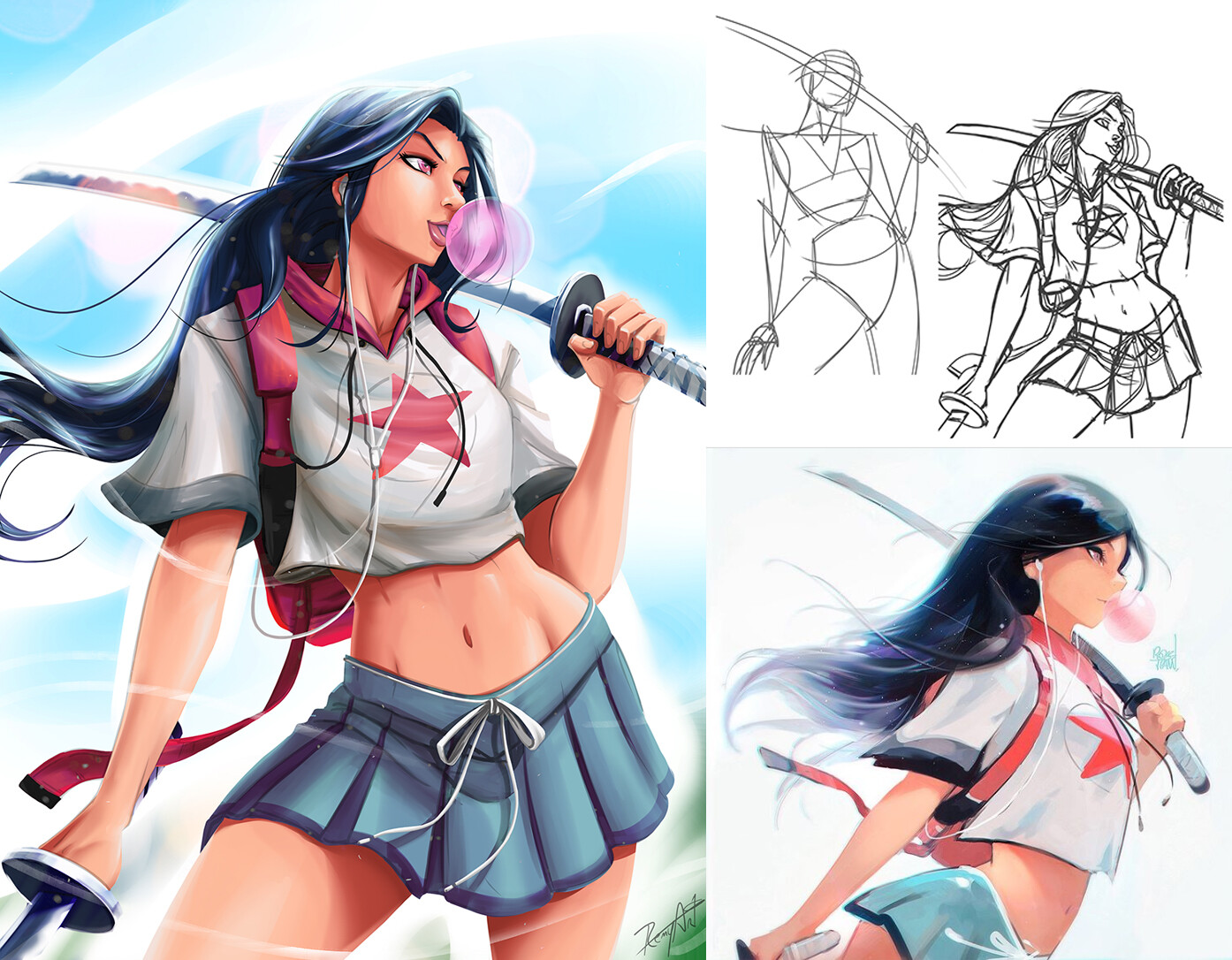 Colored, sketches, and the original drawing from RossDraws