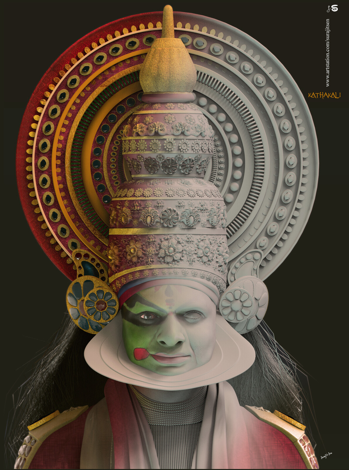 Kathakali-The art of Indian Dance (In Kerala)-CG Character  Modeled / Sculpted in Maya / ZBrush The texture was painted in Substance Painter Rendered in Arnold Comp-Photoshop Dance is the ultimate expression of human emotion. Kerala's dance traditions da