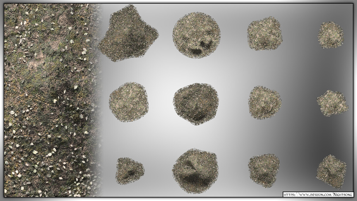 A preview of the texture shaders for the dirt piles, as rendered in SuperFly/Cycles.
