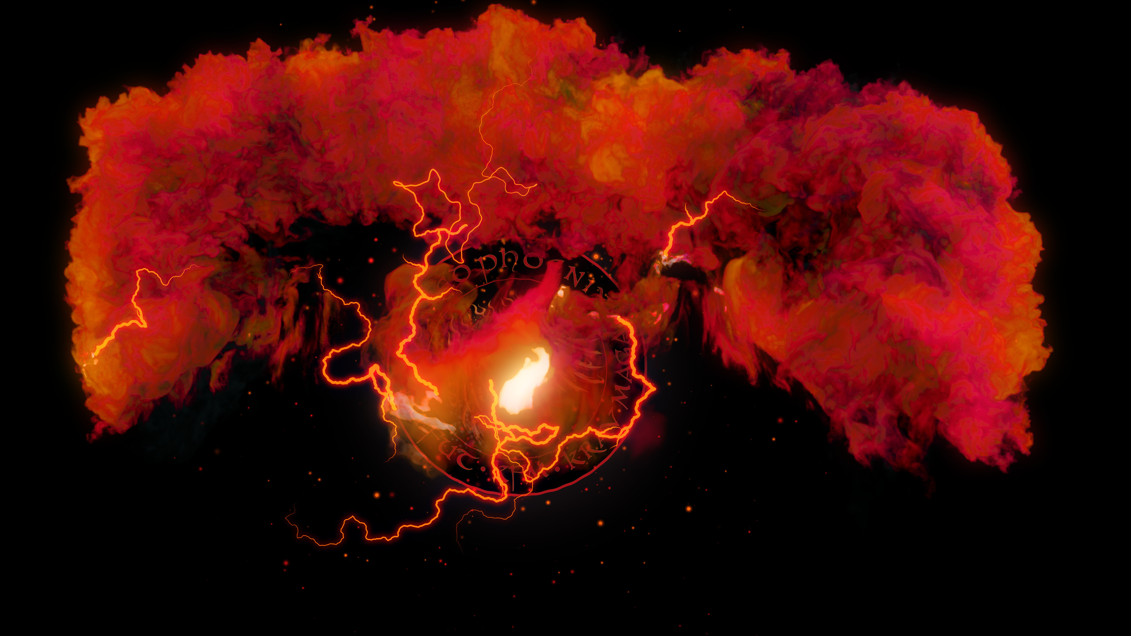 Screen shot from logo intro.  All flames/ explosions in Houdini, everything else in After Effects.