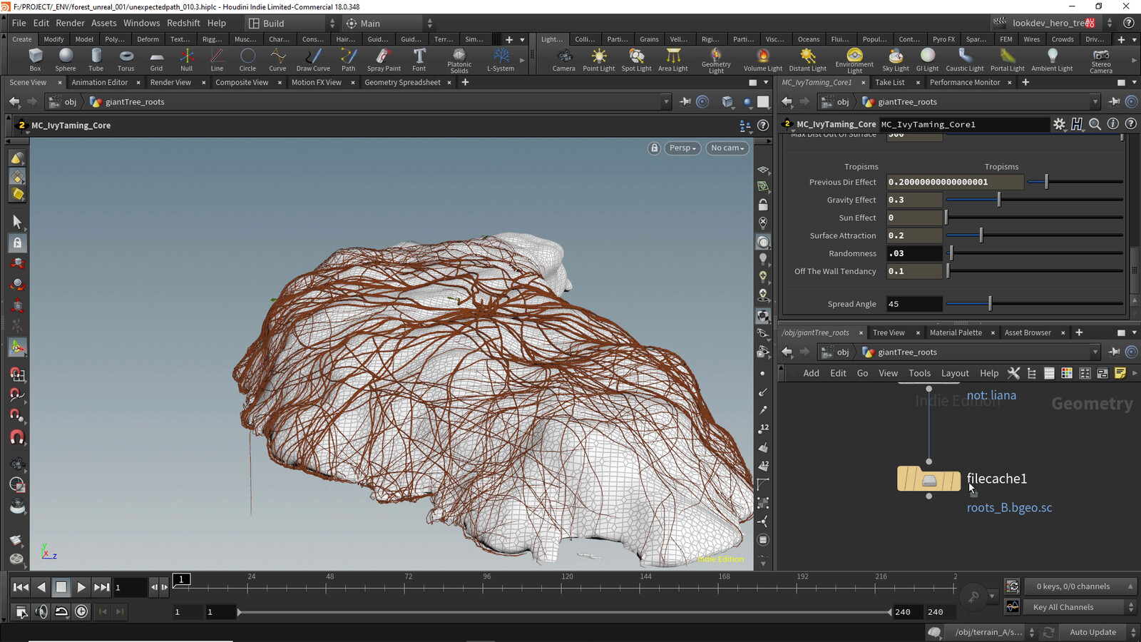 Growing roots on a mesh representing the forest volume