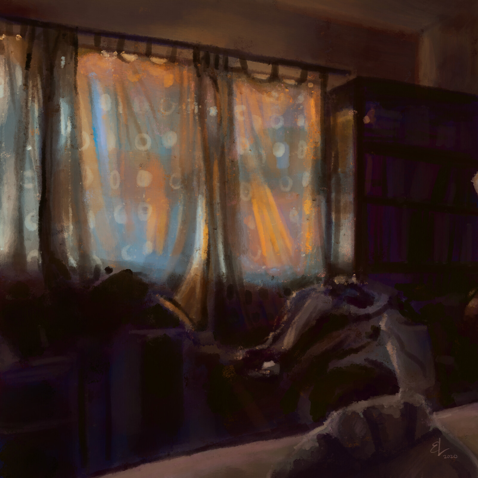 Sunset In A Bedroom - Quick Sketch