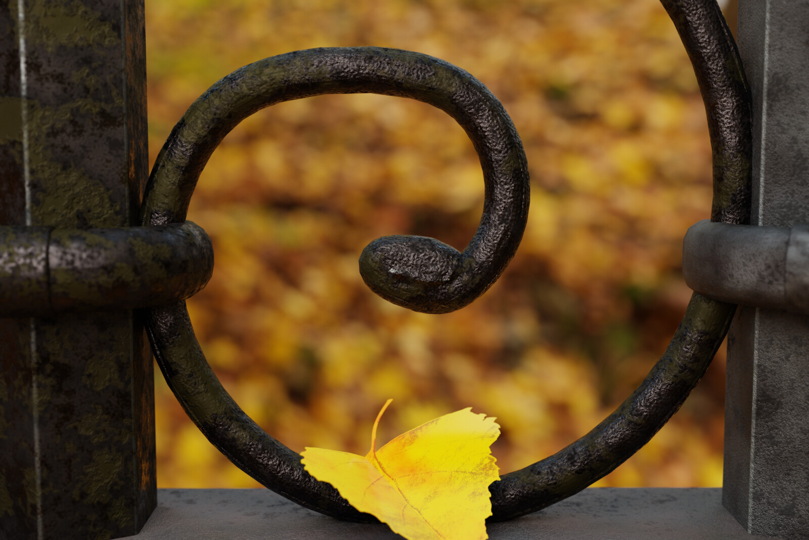Autumn through the iron fence (Monthly material practice May)