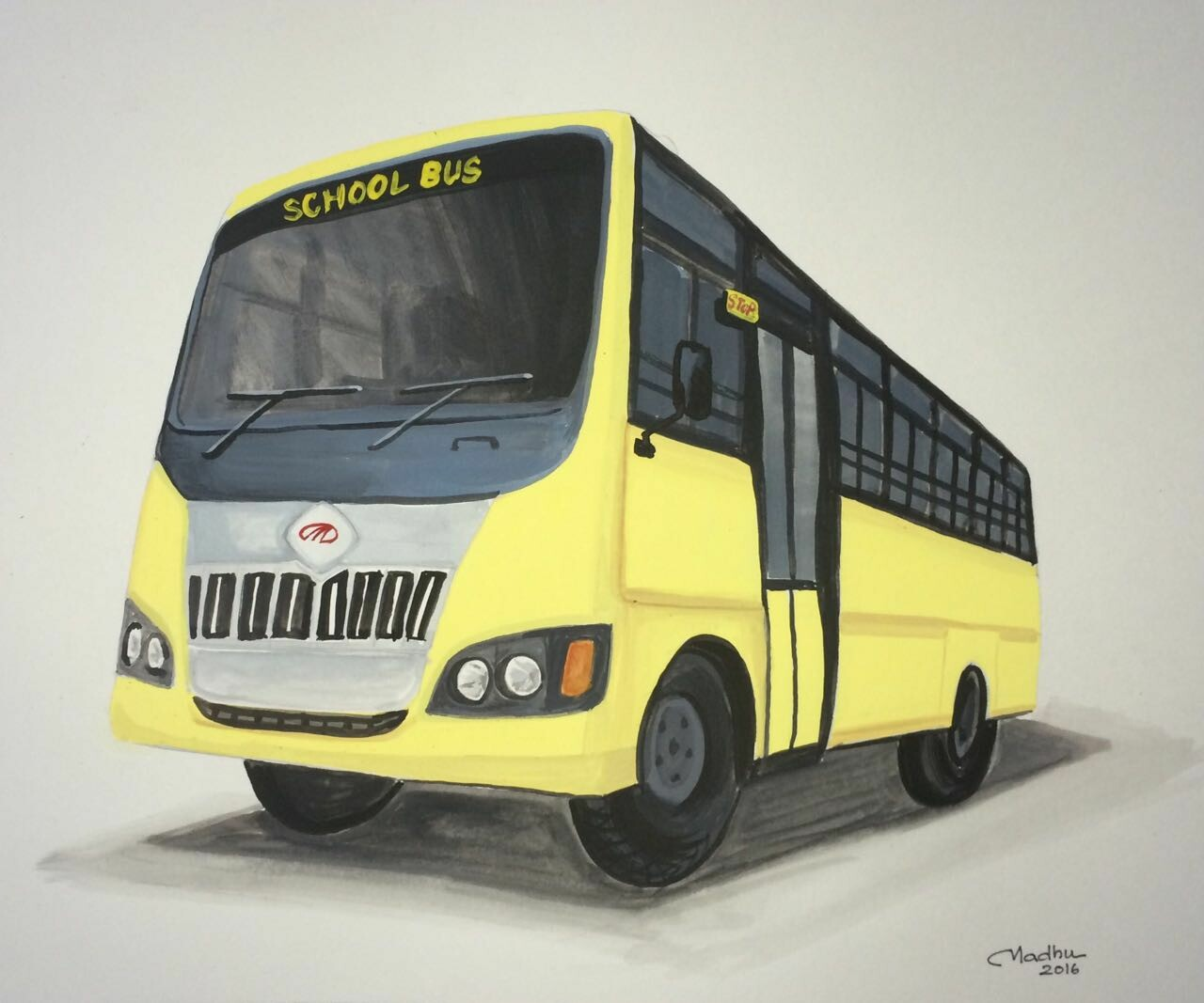 School Bus - Poster colors on paper