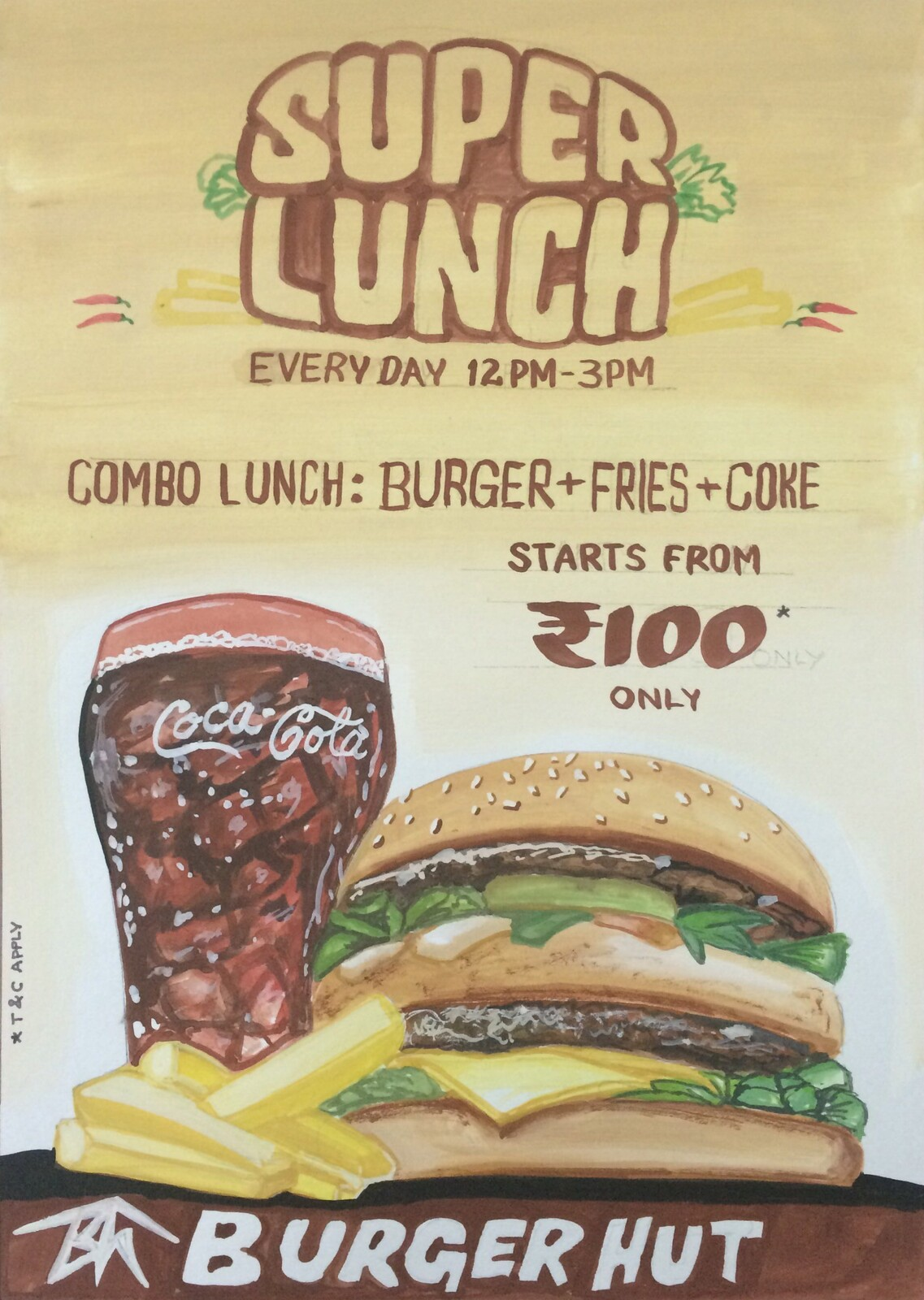 Paper Ad Design Burger Store - Poster colors on paper